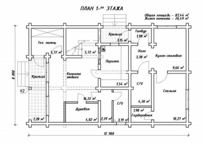 план первого этажа 87 м2