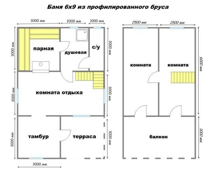 планировка 6 на 9 дома с баней