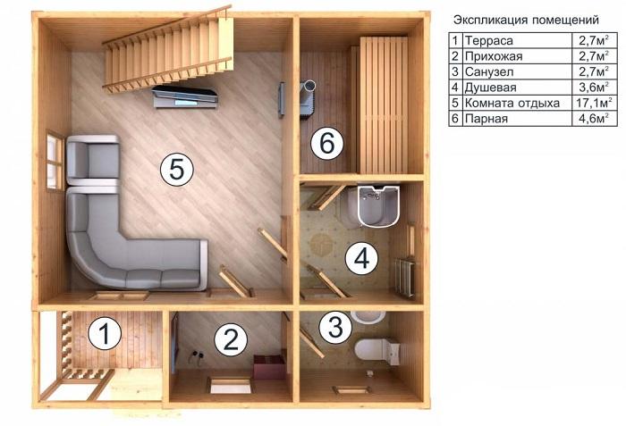 планировка первого этажа дома с баней