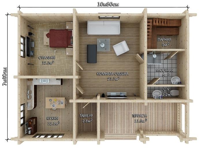 планировка дома с баней одноэтажный с террасой