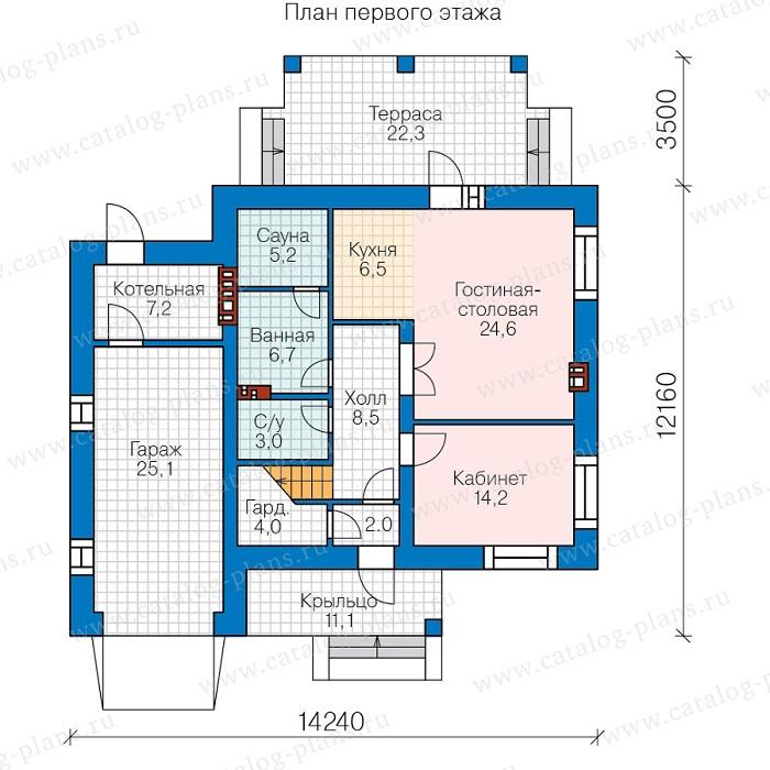 план первого этажа дома бани из кирпича с гаражом