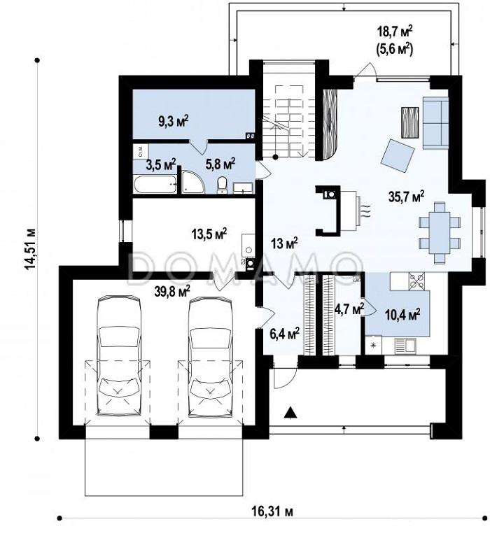 планировка 1 этажа дома с баней и гаражом на две машины