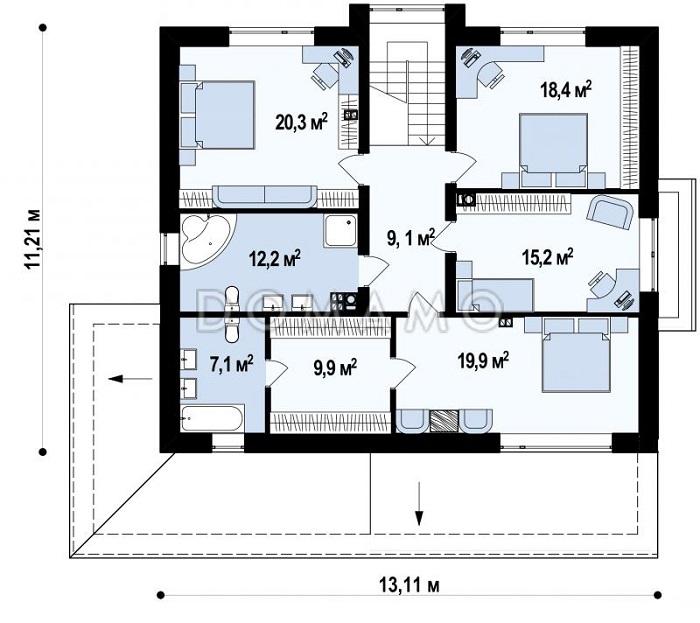 планировка второго этажа дома с баней и гаражом
