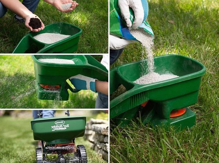 внесение удобрений на газон