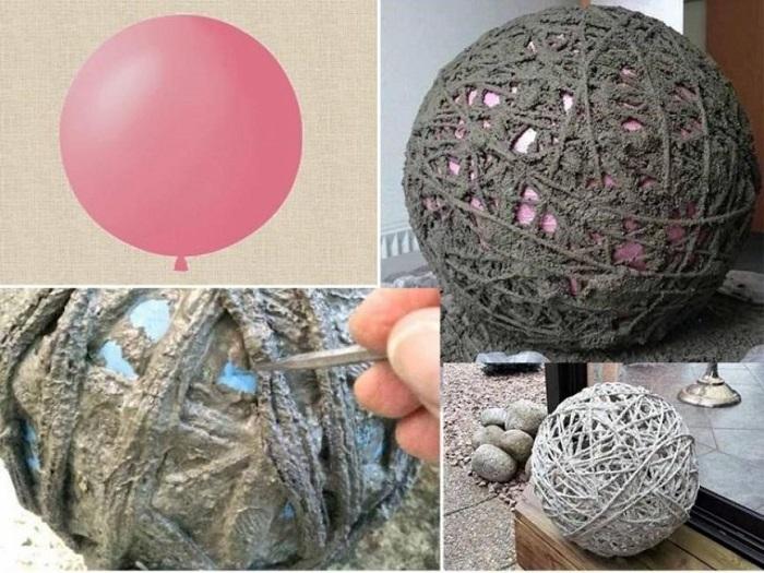 шары из бетона для сада своими руками и веревки