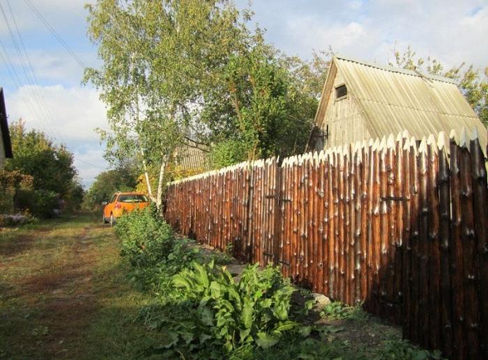 забор из горбыля обработанный